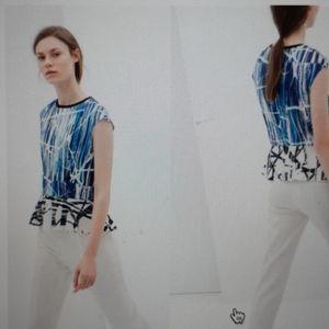 Graphic Zara Neoprene Peplum Top
